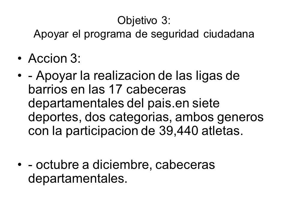 Objetivo 3: Apoyar el programa de seguridad ciudadana
