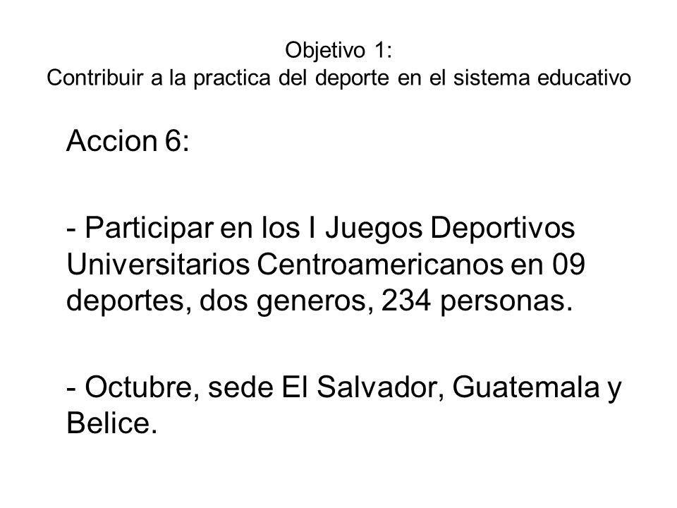 - Octubre, sede El Salvador, Guatemala y Belice.
