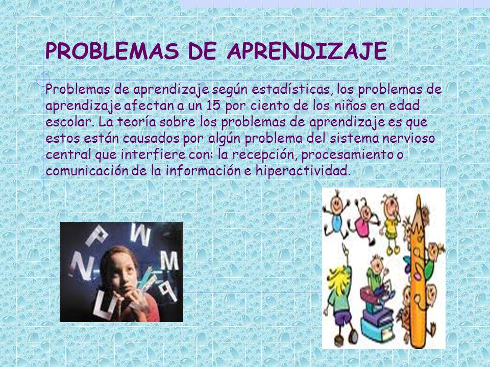 PROBLEMAS DE APRENDIZAJE Problemas de aprendizaje según estadísticas, los problemas de aprendizaje afectan a un 15 por ciento de los niños en edad escolar.