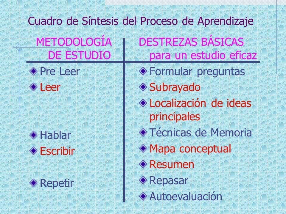 Cuadro de Síntesis del Proceso de Aprendizaje