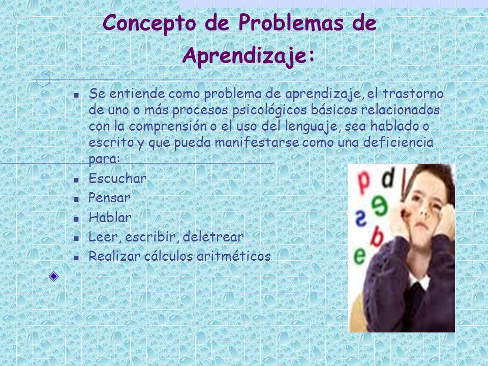 Concepto de Problemas de Aprendizaje: