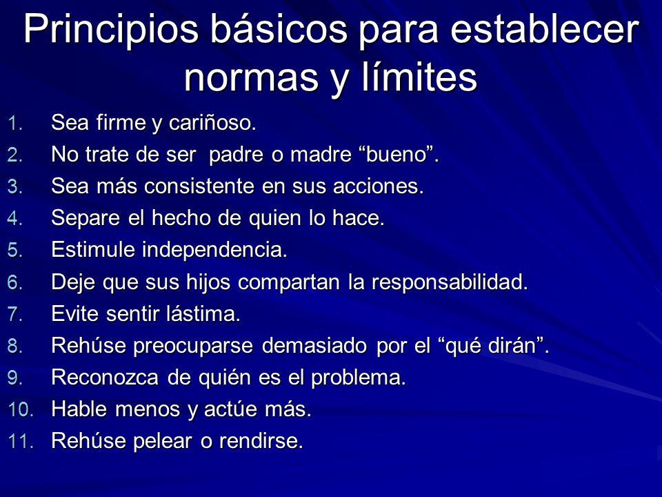 Principios básicos para establecer normas y límites
