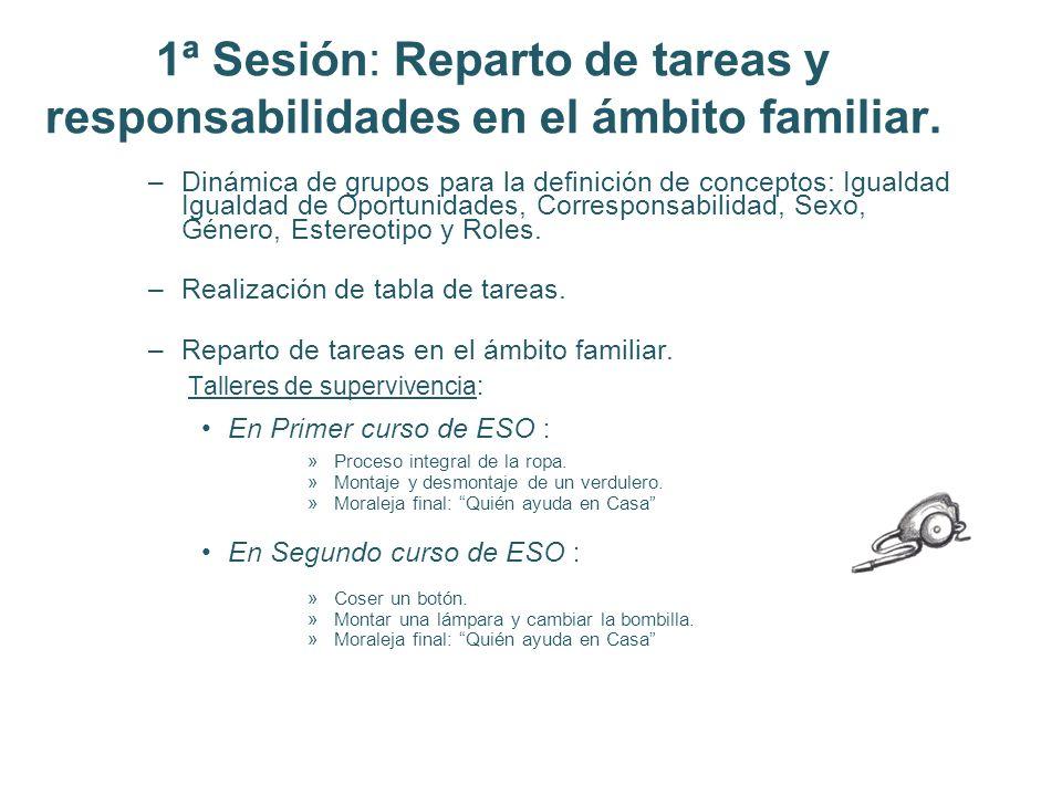 1ª Sesión: Reparto de tareas y responsabilidades en el ámbito familiar.