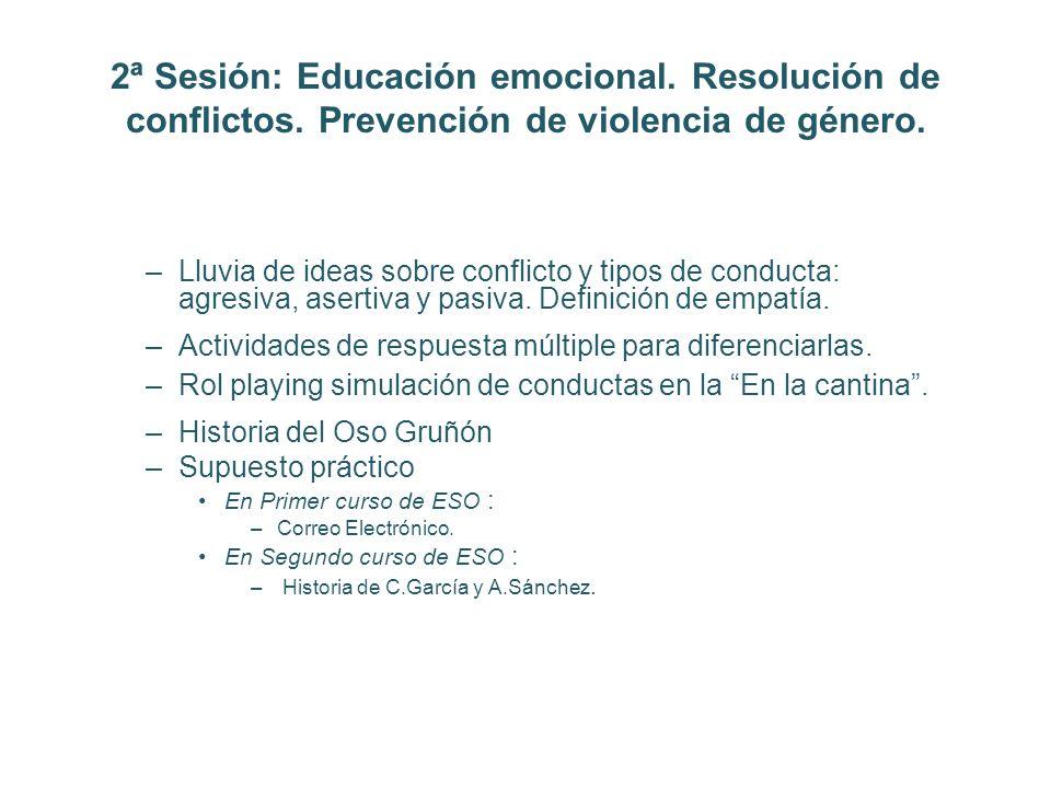 2ª Sesión: Educación emocional. Resolución de conflictos