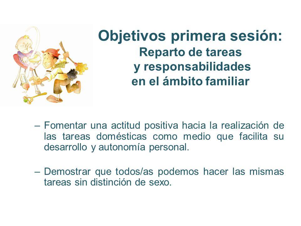 Objetivos primera sesión: Reparto de tareas y responsabilidades en el ámbito familiar
