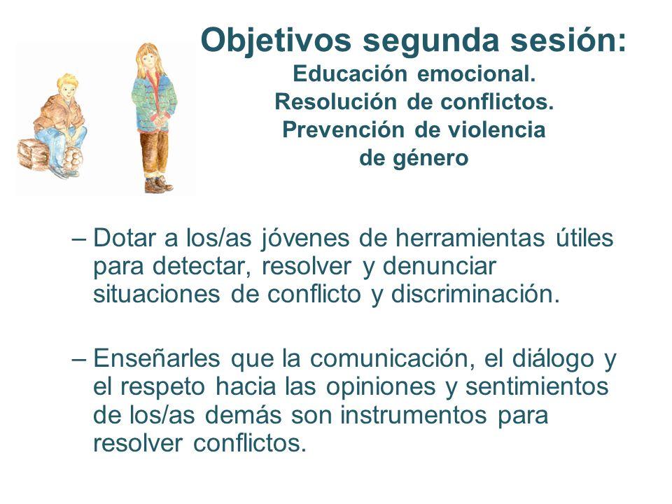 Objetivos segunda sesión: Educación emocional. Resolución de conflictos. Prevención de violencia de género