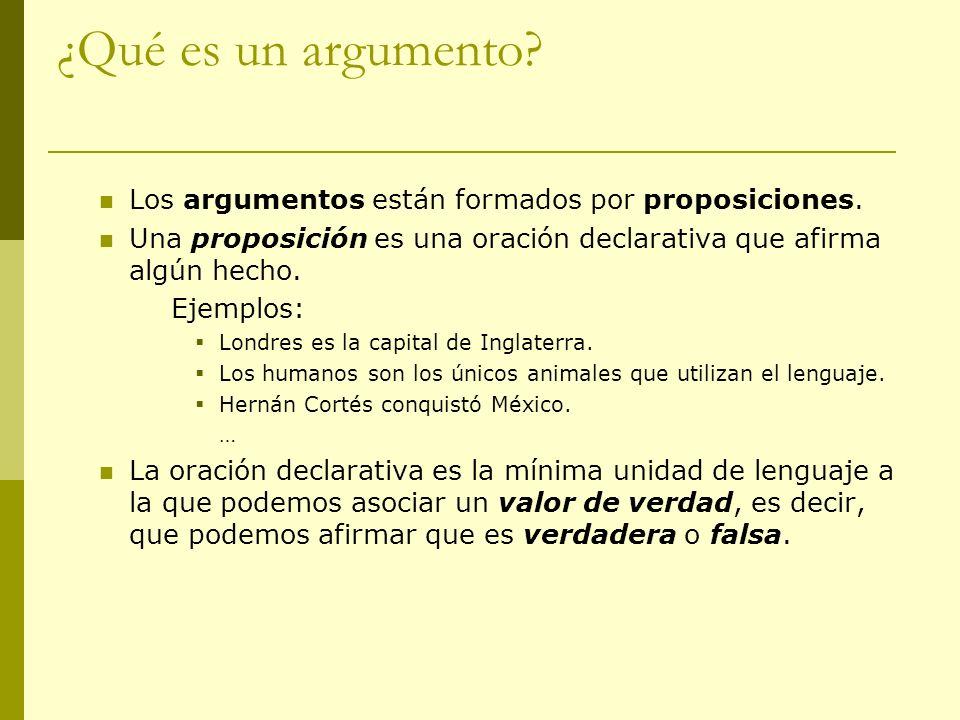 ¿Qué es un argumento Los argumentos están formados por proposiciones.