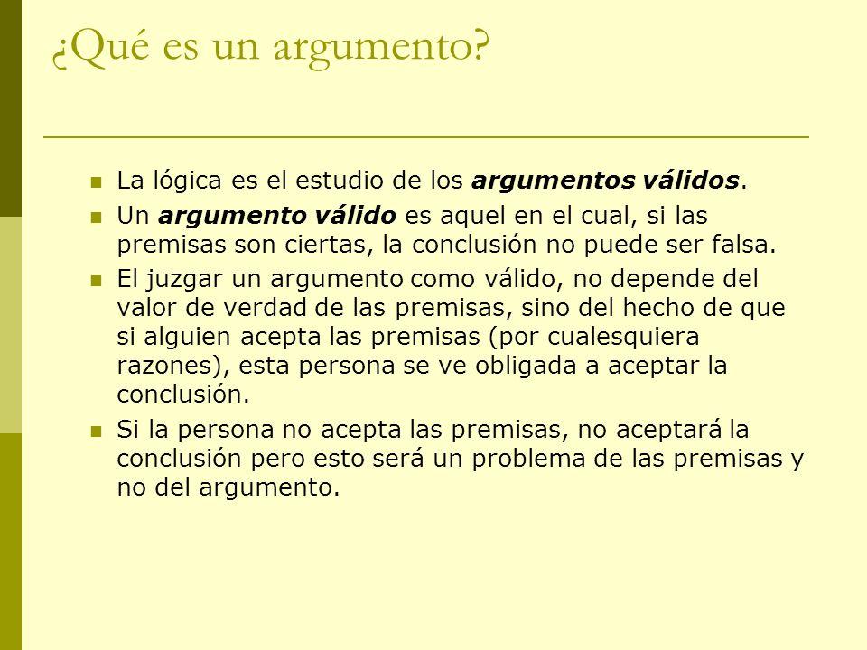 ¿Qué es un argumento La lógica es el estudio de los argumentos válidos.