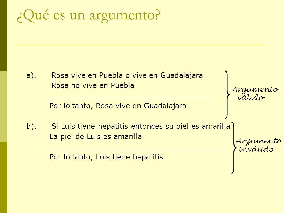 ¿Qué es un argumento a). Rosa vive en Puebla o vive en Guadalajara