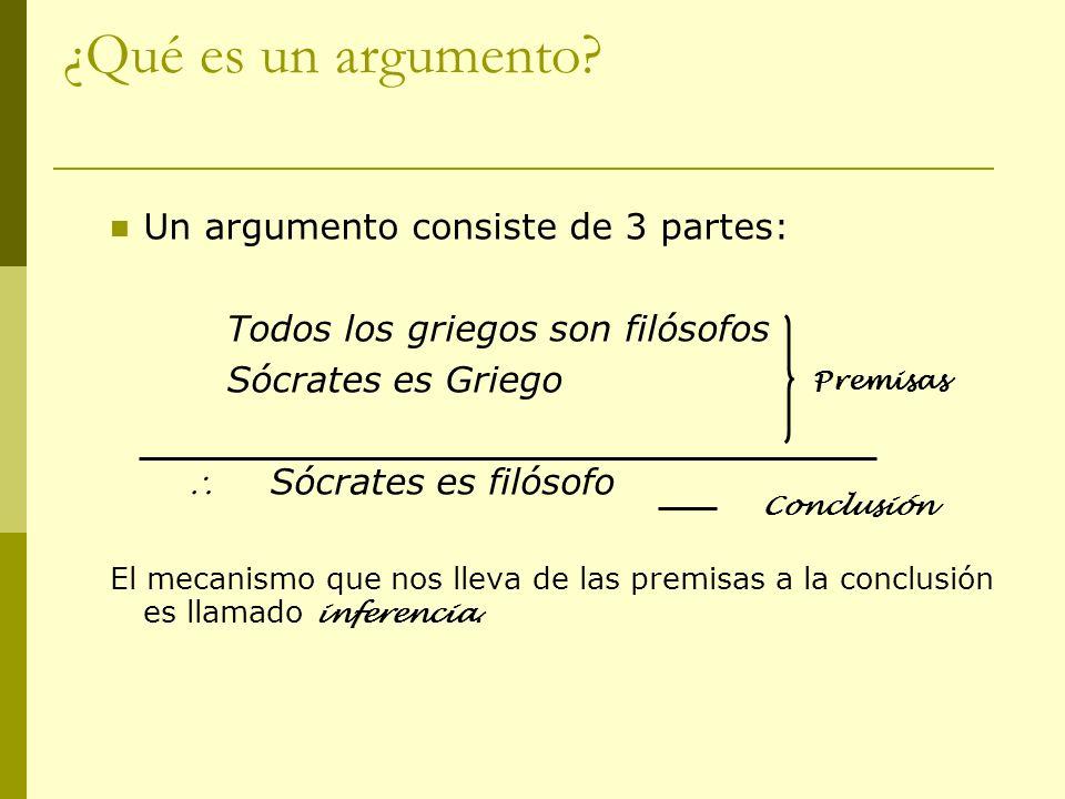 ¿Qué es un argumento Un argumento consiste de 3 partes: