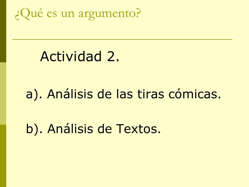 ¿Qué es un argumento Actividad 2. a). Análisis de las tiras cómicas.