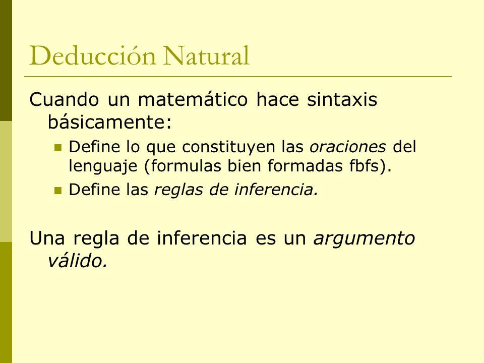 Deducción Natural Cuando un matemático hace sintaxis básicamente: