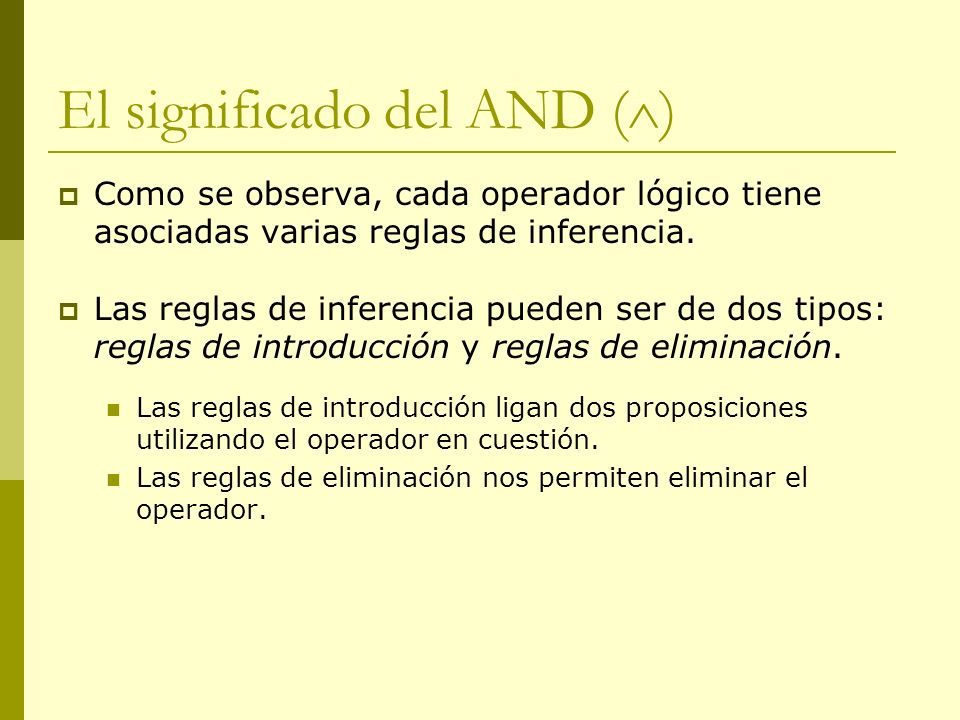 El significado del AND ()