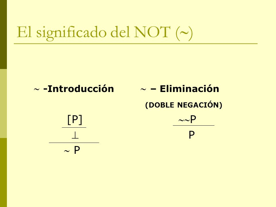 El significado del NOT ()
