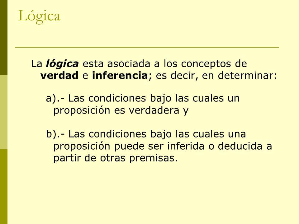 Lógica La lógica esta asociada a los conceptos de verdad e inferencia; es decir, en determinar:
