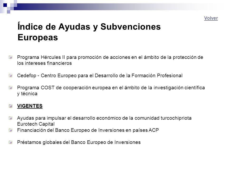 Índice de Ayudas y Subvenciones Europeas