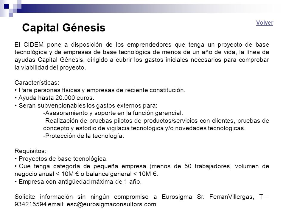 Capital Génesis Volver.