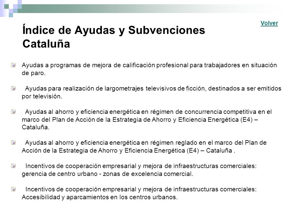 Índice de Ayudas y Subvenciones Cataluña
