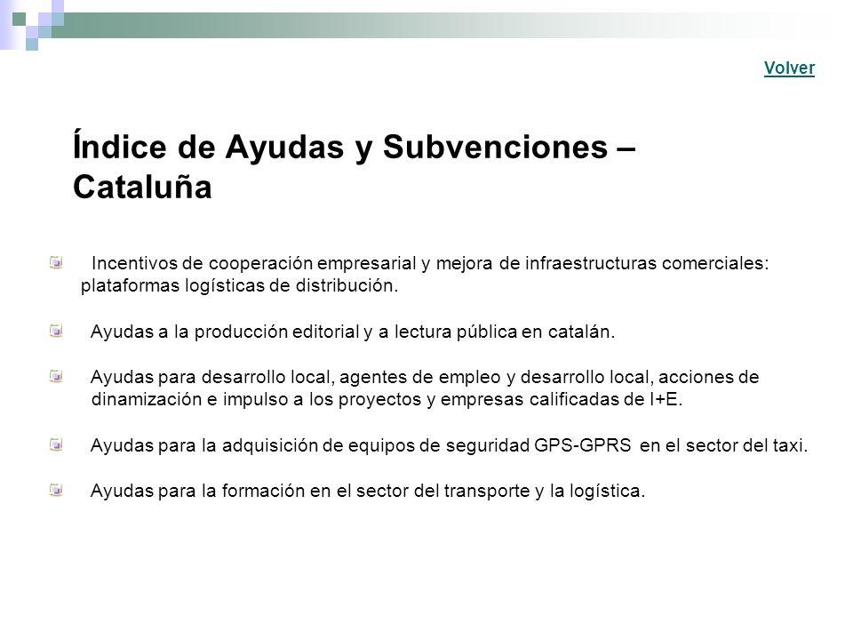Índice de Ayudas y Subvenciones – Cataluña