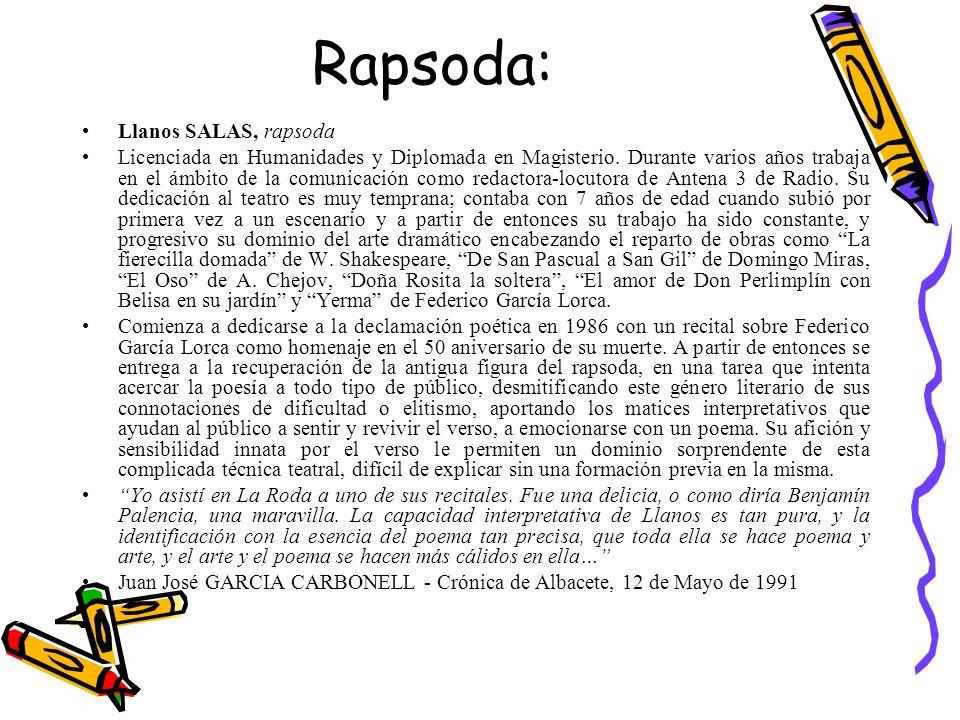 Rapsoda: Llanos SALAS, rapsoda