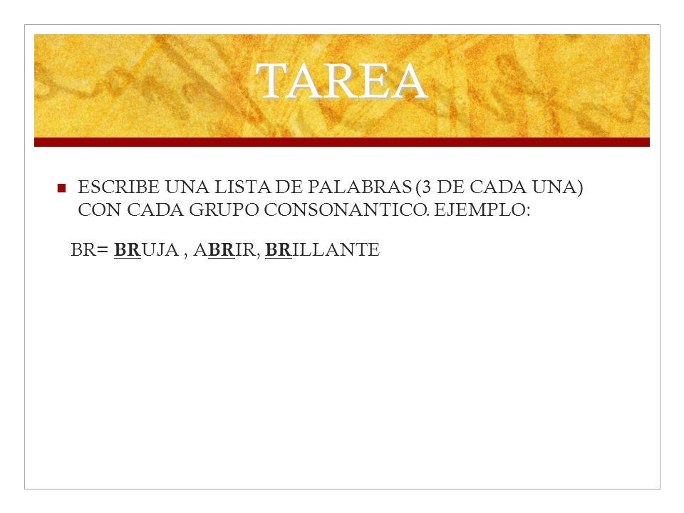 TAREAESCRIBE UNA LISTA DE PALABRAS (3 DE CADA UNA) CON CADA GRUPO CONSONANTICO.
