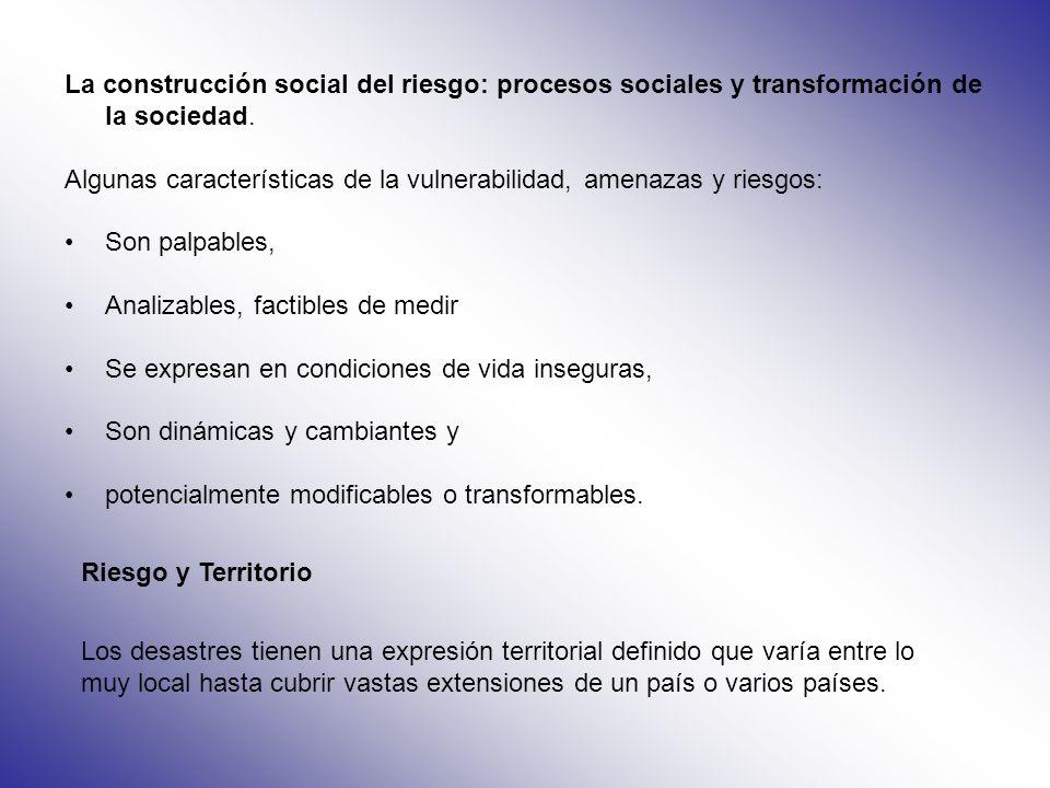 La construcción social del riesgo: procesos sociales y transformación de la sociedad.