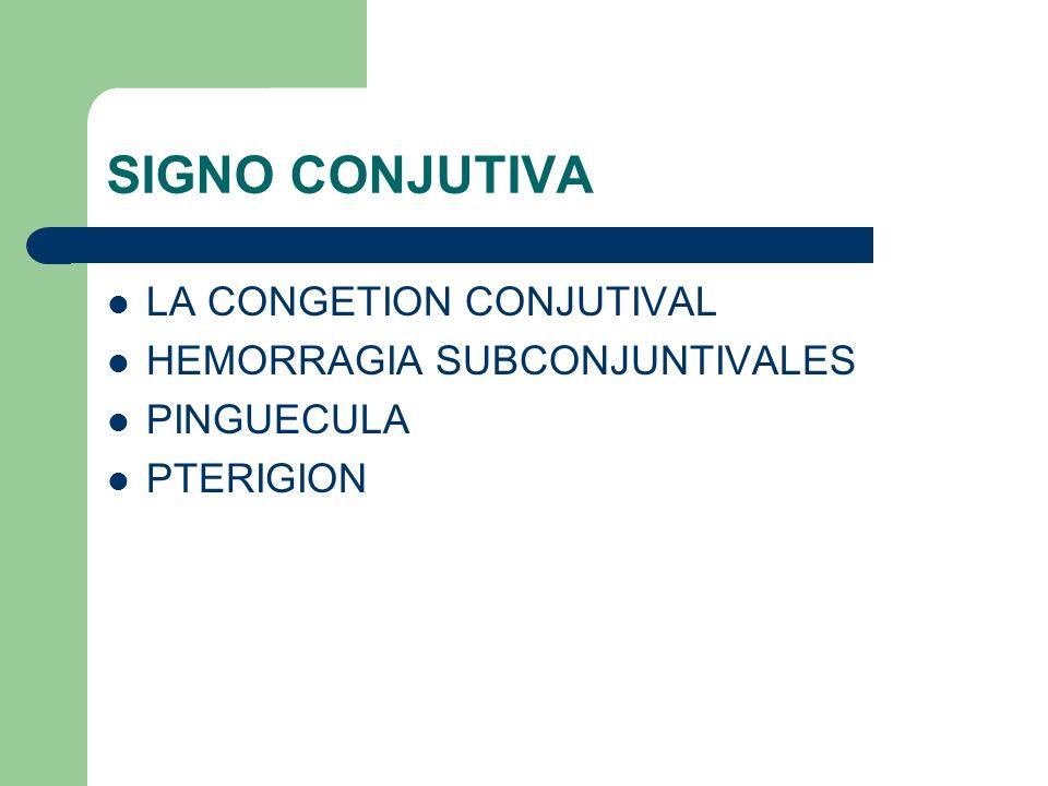 SIGNO CONJUTIVA LA CONGETION CONJUTIVAL HEMORRAGIA SUBCONJUNTIVALES