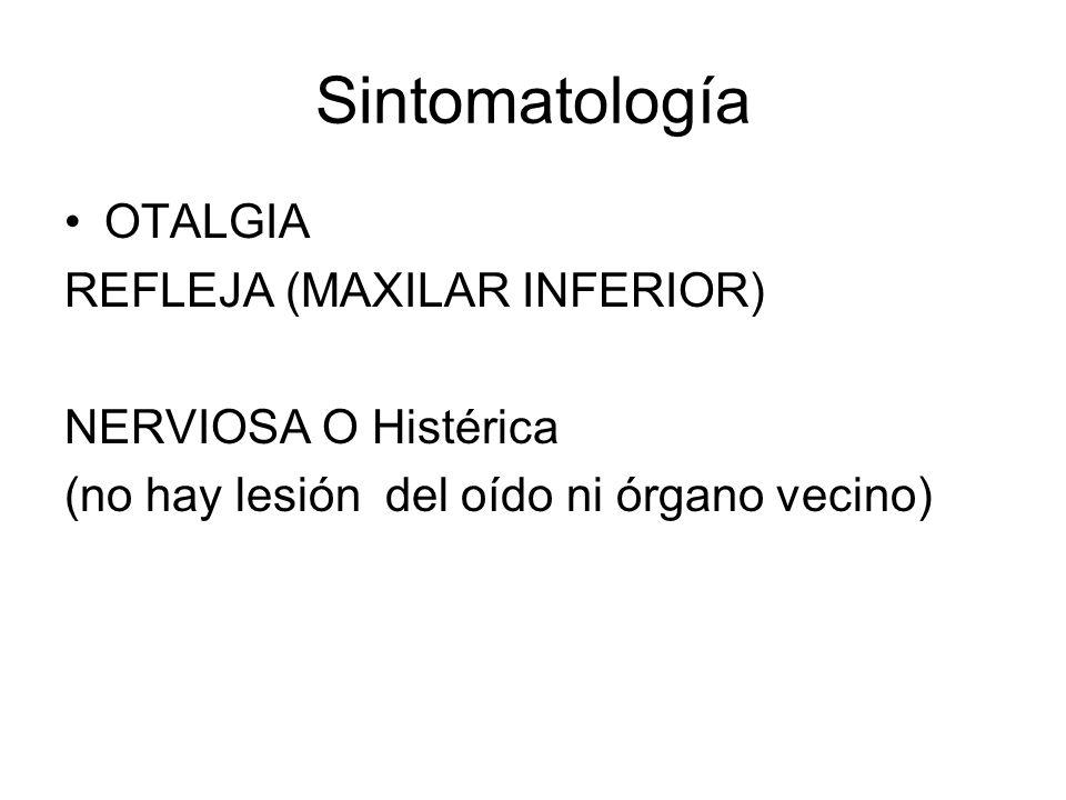 Sintomatología OTALGIA REFLEJA (MAXILAR INFERIOR) NERVIOSA O Histérica