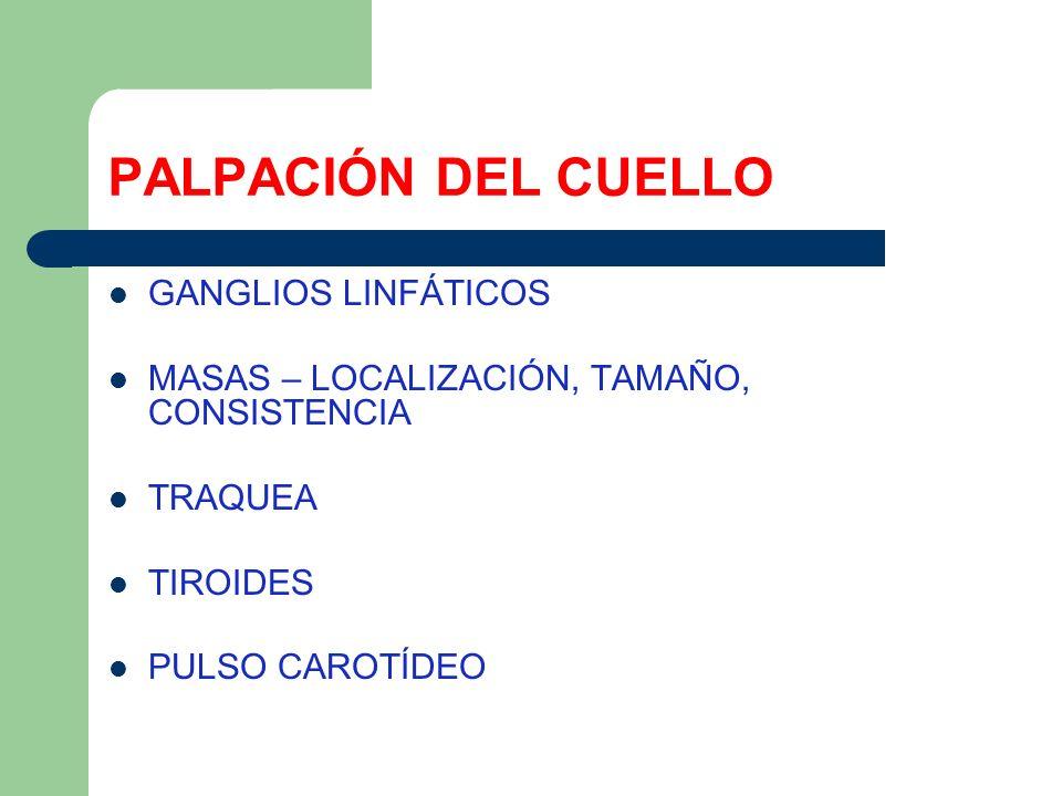 PALPACIÓN DEL CUELLO GANGLIOS LINFÁTICOS