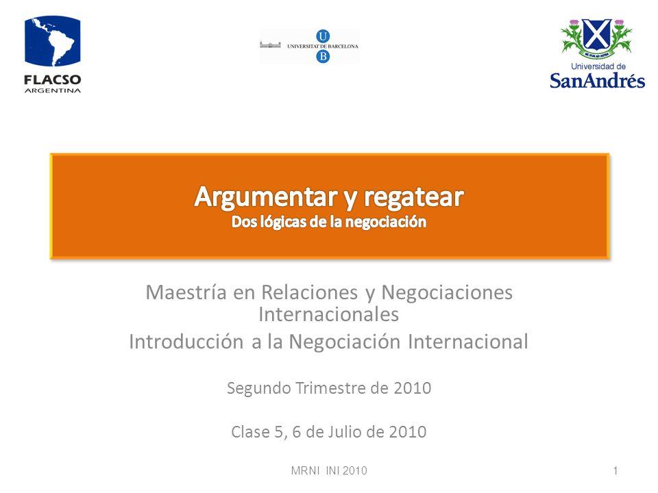 Argumentar y regatear Dos lógicas de la negociación