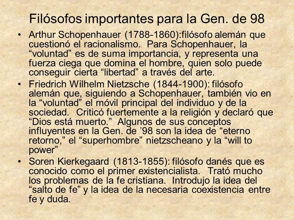 Filósofos importantes para la Gen. de 98