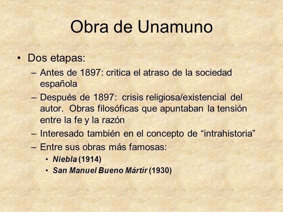 Obra de Unamuno Dos etapas: