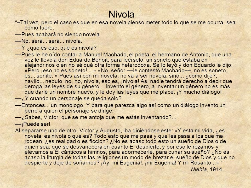 Nivola –Tal vez, pero el caso es que en esa novela pienso meter todo lo que se me ocurra, sea como fuere.