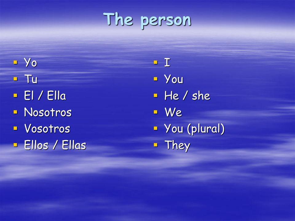The person Yo Tu El / Ella Nosotros Vosotros Ellos / Ellas I You