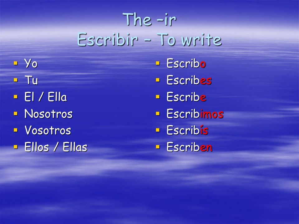 The –ir Escribir – To write