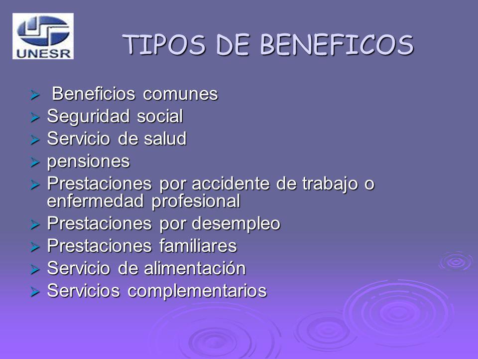 TIPOS DE BENEFICOS Beneficios comunes Seguridad social