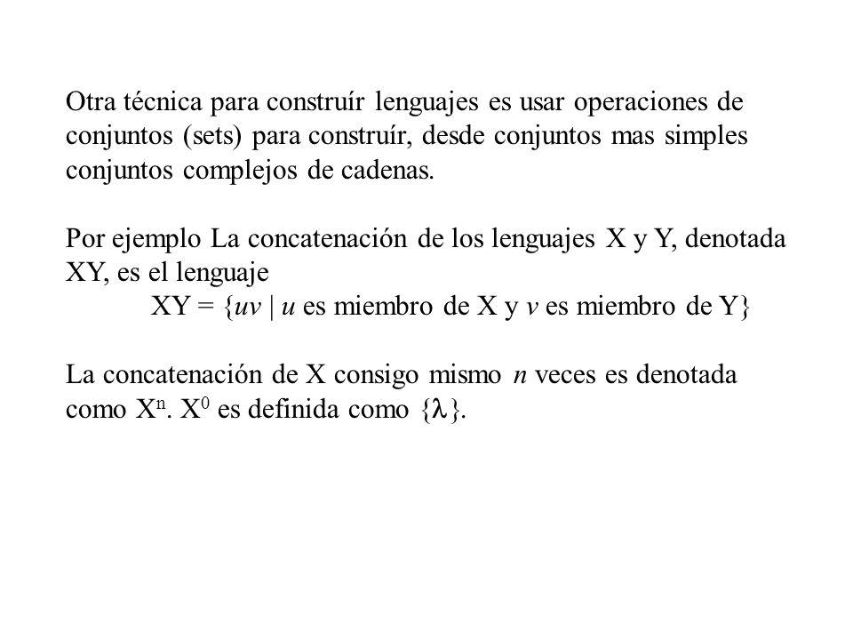 Otra técnica para construír lenguajes es usar operaciones de