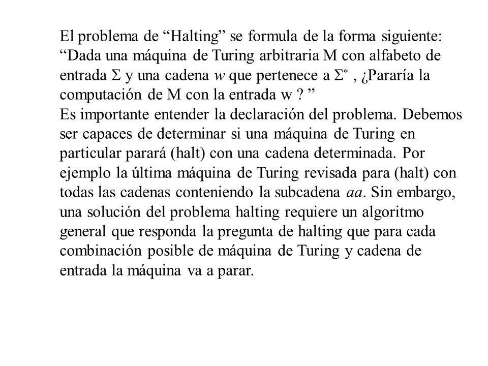 El problema de Halting se formula de la forma siguiente: