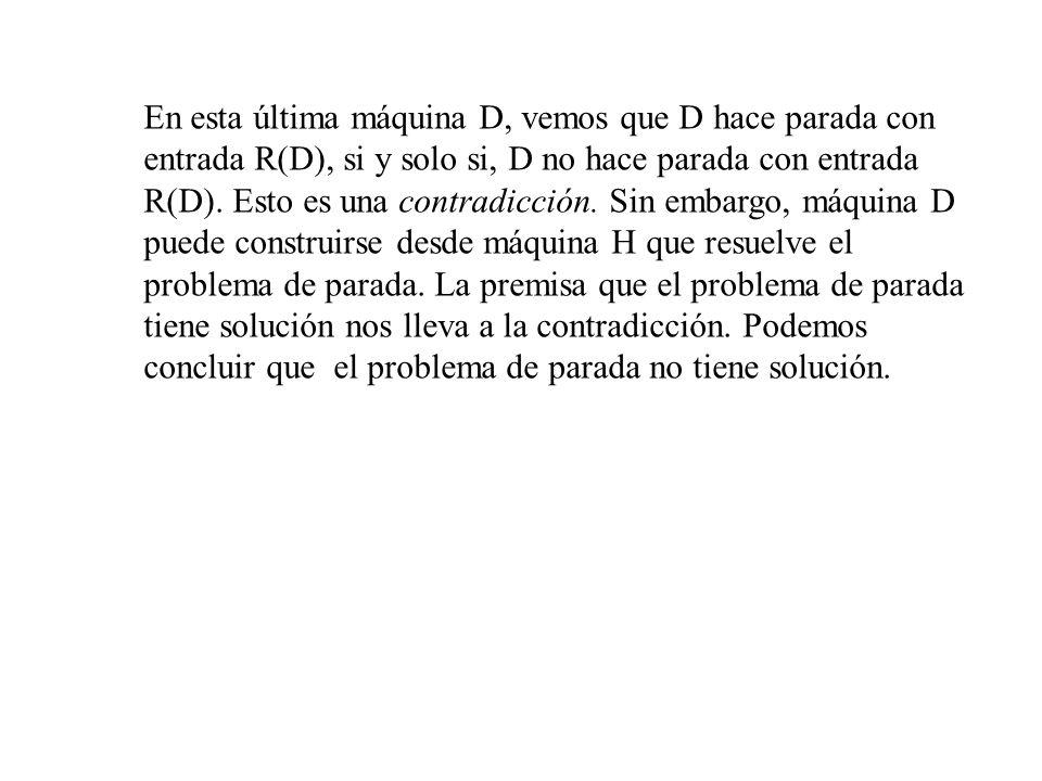 En esta última máquina D, vemos que D hace parada con entrada R(D), si y solo si, D no hace parada con entrada R(D).