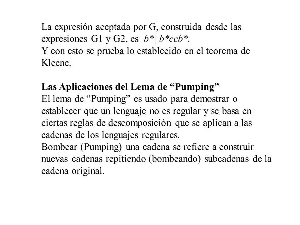 La expresión aceptada por G, construida desde las expresiones G1 y G2, es b*| b*ccb*.
