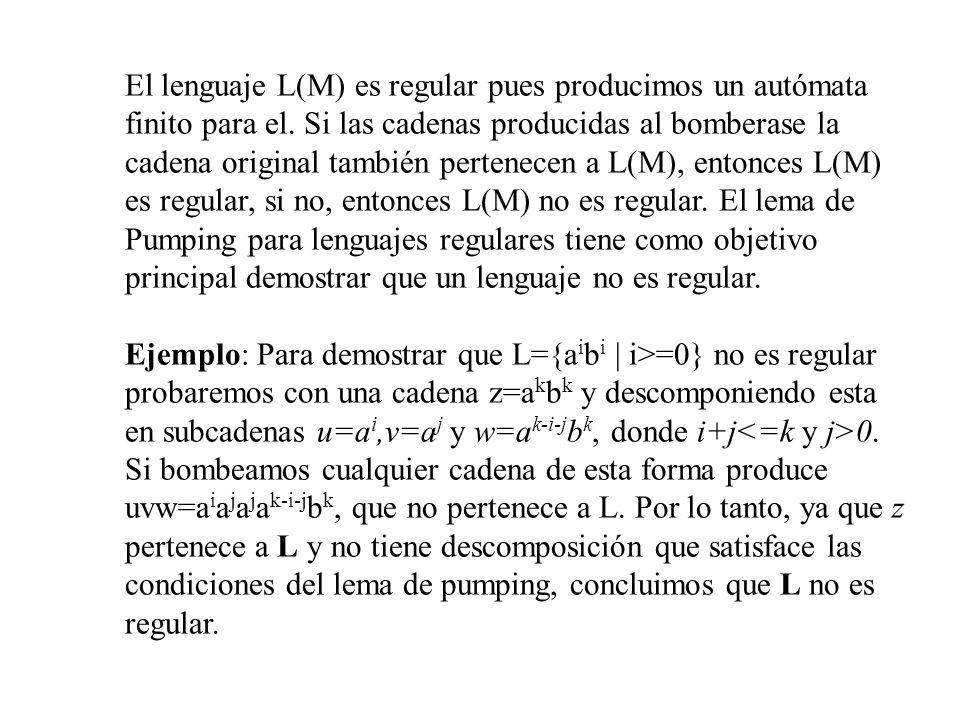 El lenguaje L(M) es regular pues producimos un autómata finito para el