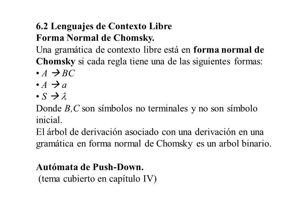 6.2 Lenguajes de Contexto Libre
