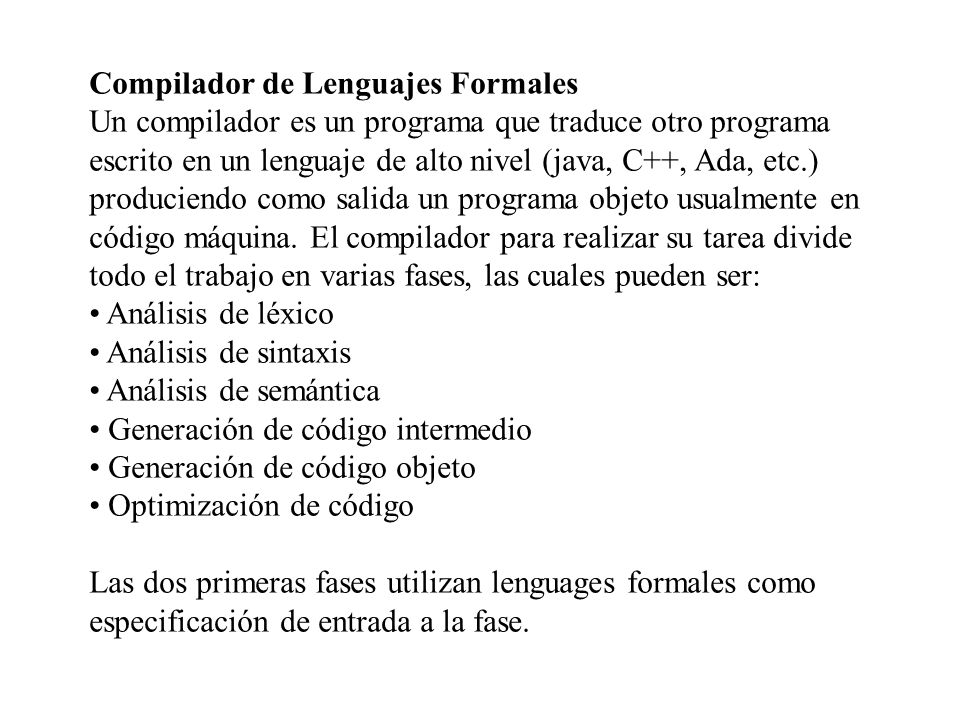Compilador de Lenguajes Formales