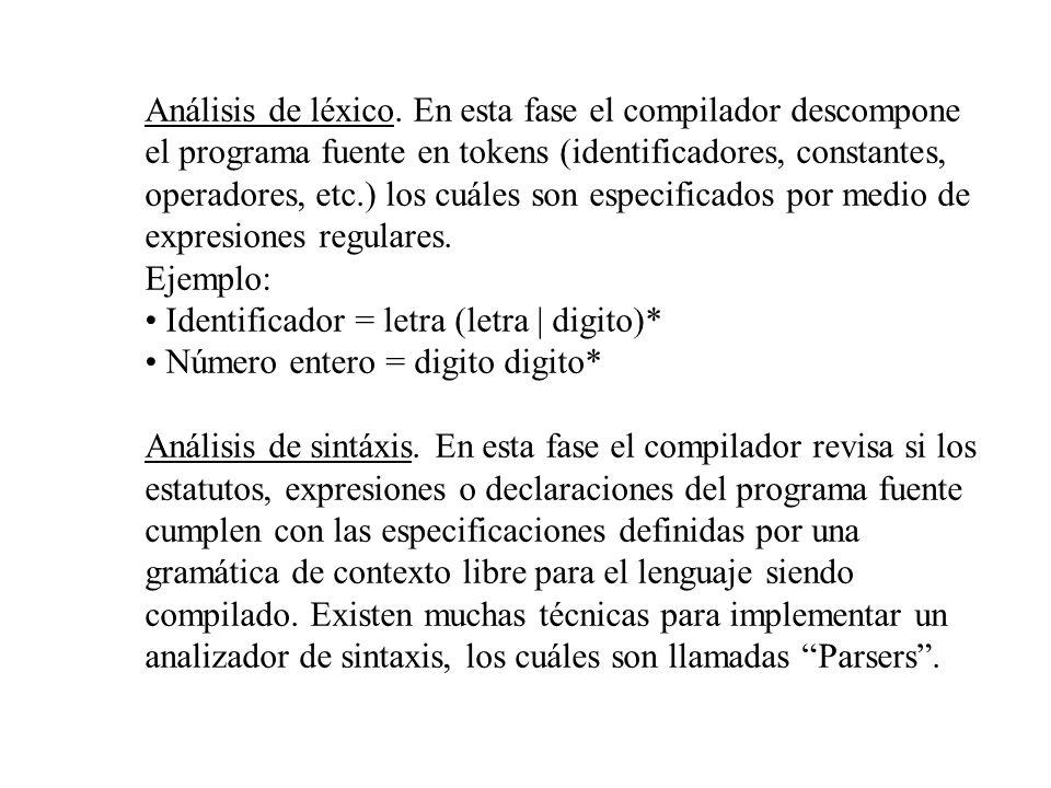 Análisis de léxico. En esta fase el compilador descompone el programa fuente en tokens (identificadores, constantes, operadores, etc.) los cuáles son especificados por medio de expresiones regulares.