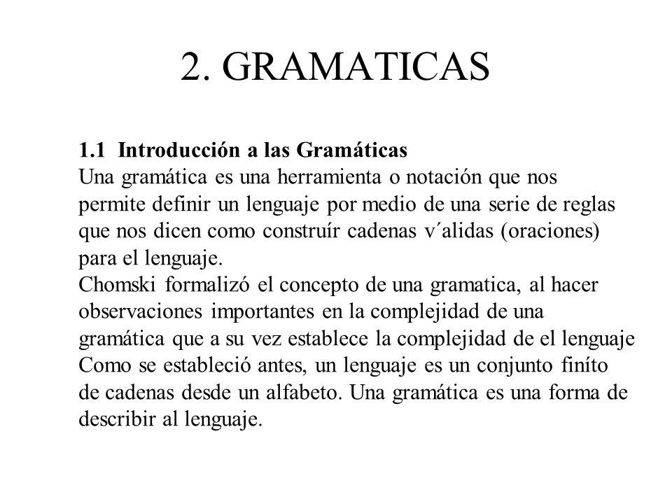 2. GRAMATICAS 1.1 Introducción a las Gramáticas
