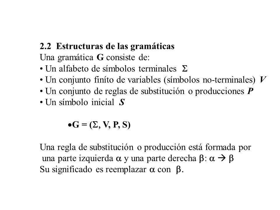 2.2 Estructuras de las gramáticas