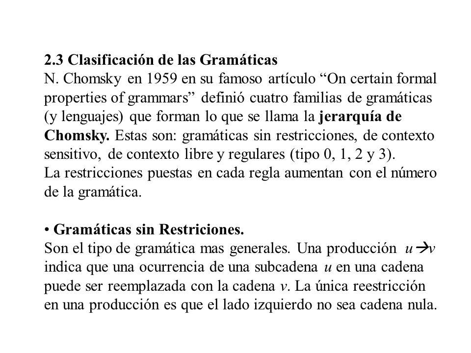 2.3 Clasificación de las Gramáticas