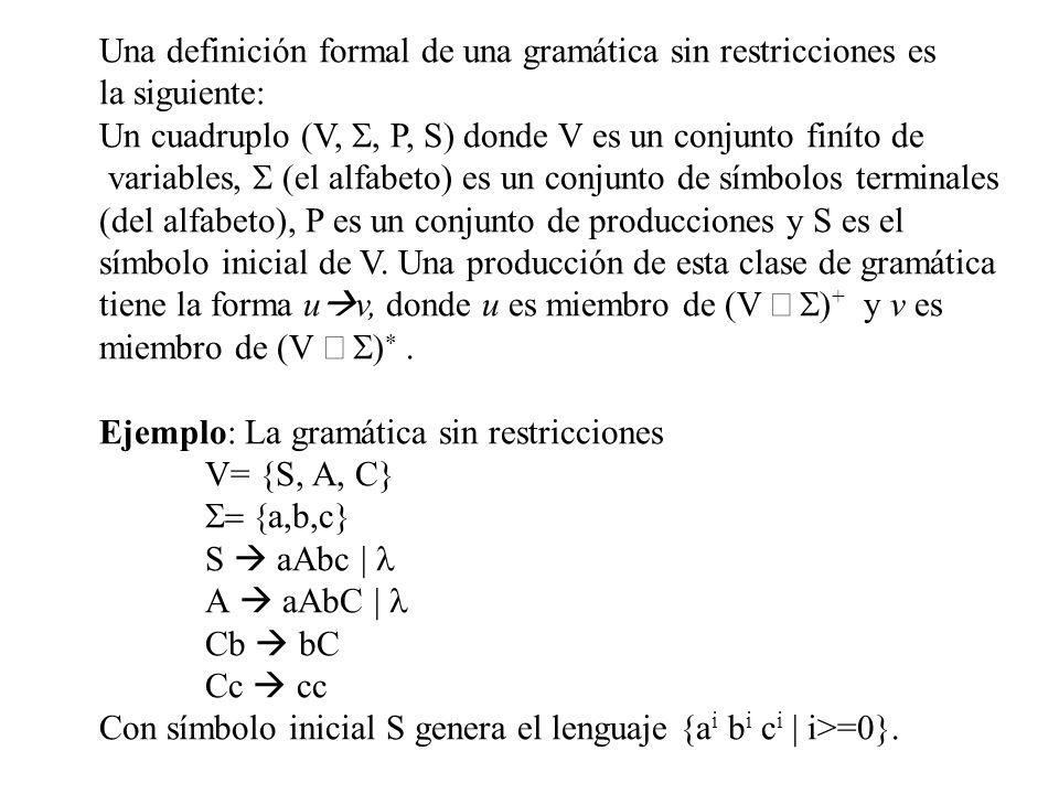 Una definición formal de una gramática sin restricciones es
