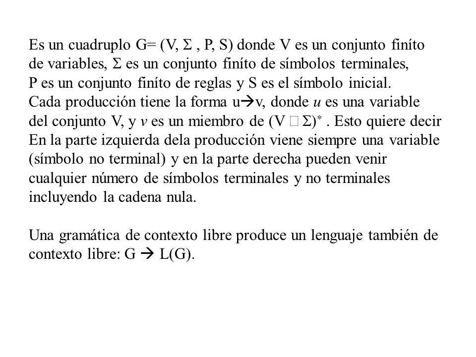 Es un cuadruplo G= (V, S , P, S) donde V es un conjunto finíto