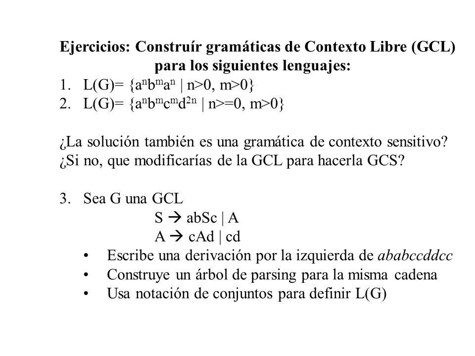 Ejercicios: Construír gramáticas de Contexto Libre (GCL)
